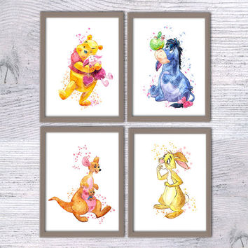 Winnie the Pooh and friends, Set of 4, Disney Watercolor, Eeyore, Rabbit, Kanga and Roo, Winnie the Pooh, Baby shower Pooh, baby gift, V56