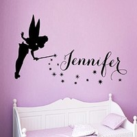 Wall Decals Vinyl Decal Sticker Children Kids Nursery Baby Room Bedding Interior Design Home Decor Fairy Girl Custom Name Tinkerbell Girl Personalized Name Princess Kg893