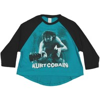 Nirvana  Kurt Cobain Water Guitar Photo Raglan Junior Top Black/Sea