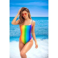 Rainbow Print Ribbed Stretch One Piece Bikini Swimwear