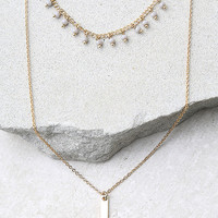 Boast the Most Gold and Grey Layered Choker Necklace