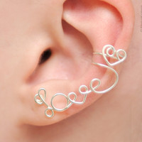 Silver or Gold Wire Wrap Love Heart Ear Cuff