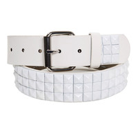 Three Row White Pyramid Stud Belt | Hot Topic