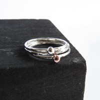 Set of 3 Silver Stacking Rings - Tiny Dot Copper & Silver Ring - Thin Hammered Silver Rings - Trendy Silver Ring