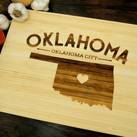 Oklahoma State Cutting Board (Pictured in Natural), approx. 12 x 16 inches, heart, bamboo,  Personalized Wedding Gift, Anniversary gift