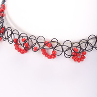 Red Beaded Accent Looped Design Tattoo Choker Necklace