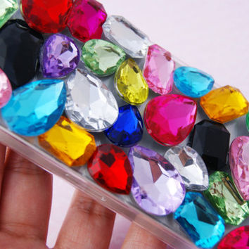 IPHONE 5 Super Bling Crystals Diamond Rainbow Cell Phone Case