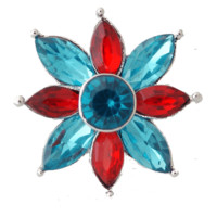 """Chunk Snap Charm Red and Turquoise Crystals 22mm, 3/4"""" Diameter"""