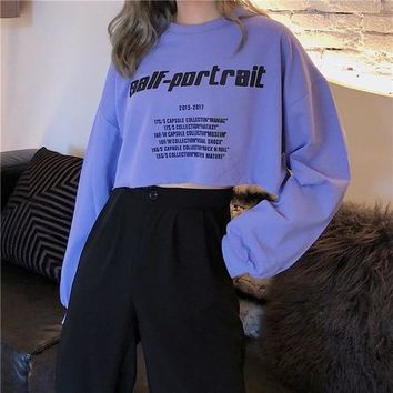 Self Portrait Long Sleeved Crop Sweatshirt