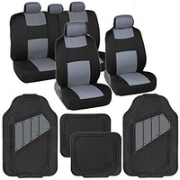 Two-Tone PolyCloth Car Seat Covers w/ Motor Trend Dual-Accent Heavy Duty Rubber Floor Mats - Black/Gray