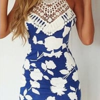 Printed lace backless cross dress