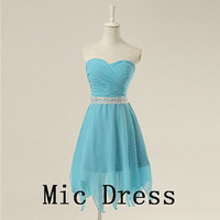 Best sale sweetheart sleeveless chiffon Corset pleated short sashes prom/Evening/Party/Homecoming/cocktail /Bridesmaid/Formal Dress