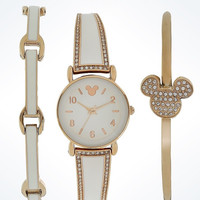 Disney Parks White Mickey Icon Watch Set with Bracelet by Sutton New with Case