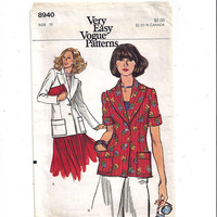 Very Easy Vogue 8940 Pattern for Misses' Jacket, Long, Short Sleeves, Size 10, from 1980s, Vintage Pattern, Home Sew Pattern, 1980 Fashion