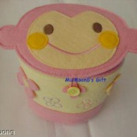 Sanrio Parrot Chi Chai MonChan Felt Case Box Yellow Can
