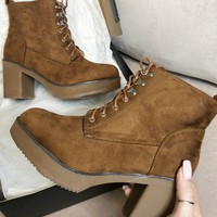 Be Good Tan Combat Hiker Heel Boot