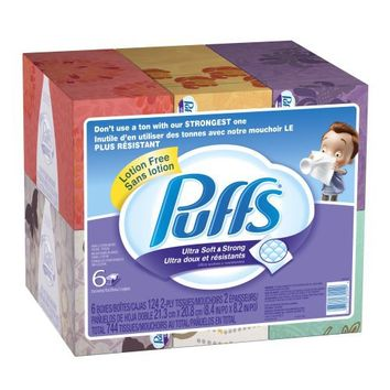 Puffs Ultra Soft and Strong Facial Tissues, 6 Pack of 124-Count Family Boxes (Packaging May Vary) | deviazon.com