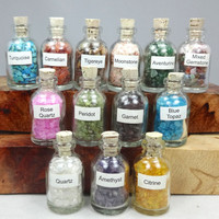 Gemstone Filled Bottles - Healing Crystals and Stones - Tumbled Keepsake Natural Gems - Miniature Bottle