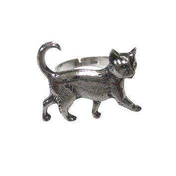 Silver Toned Textured Walking Cat Adjustable Size Fashion Ring