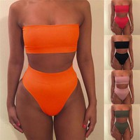 Women Solid Color High Waist Bikini Set Push-up Bra Swimsuit Bathing Suit Bandeau Belly Swimwear