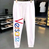 Versace 2019 new embroidered rainbow letter long casual pants