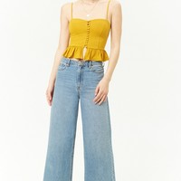 Ribbed Knit Button-Front Ruffle-Hem Cami