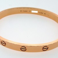 Cartier Love Bracelet 18k Rose Gold Size 17 B6035617