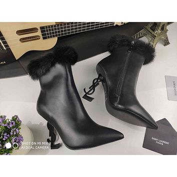 ysl women casual shoes boots fashionable casual leather women heels sandal shoes 34