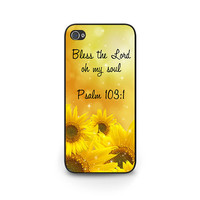 Bible Verse Phone Case Psalm 103:1 iPhone 6 case Sunflowers iPhone 5s Case Bible Verse iPhone 5c Case Psalm Bible Verse iPhone 4s Cover