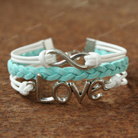 by (39boxes) Love Bracelet - infinity bracelet with love charm, unique lovely gift, mint bracelet for girlfriend and BFF