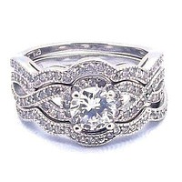 3 Piece 2.25 Ct Halo Infinity Round Cut Cz Wedding Ring Set Sterling Silver