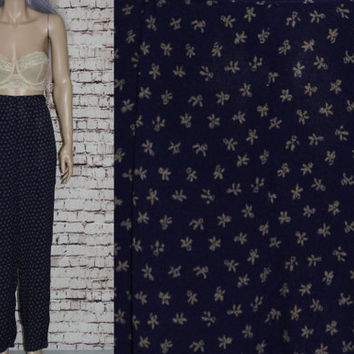90s High Pants Trousers Maxi Skirt Floral Print Grunge Hipster Pastel Goth Cyber Boho Festival Gypsy Navy Beige Rayon Wide Leg
