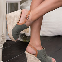 Cali Ann Denim Twine Detail Wedges (Khaki)