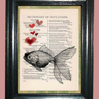 Tropical Goldfish with Red Hearts - Vintage Dictionary Page Book Art Print Upcycled Page Art Print on Dictionary Page, Goldfish Print