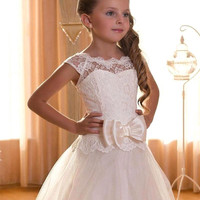 A Line Cap Sleeve Lace White/Ivory Flower Girl Dresses 2016 Lace-up Back First Communion Dresses For Girls