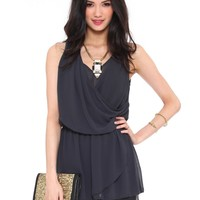 Noelle Drape Tunic - Charcoal - Tops - Clothes | GYPSY WARRIOR