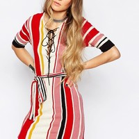 Glamorous Lace Up Dress In Knitted Stripe at asos.com