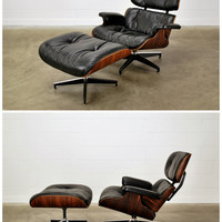 Authentic Eames Lounge Chair Rosewood and Black Leather Herman Miller
