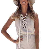Front Lace Up Grey Cotton Short Romper One piece Jumpsuit Summer Plus Size Sleeveless Casual Bodysuit Lady Overalls Playsuit