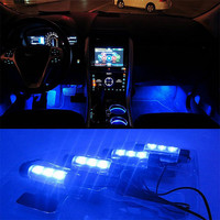 4x 3LED Blue Car Charge interior accessories foot car decorative 4in1 lights Car Interior Decoration Light #EA10322