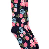 Rose-Patterned Crew Socks
