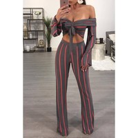 Sriped Off Shoulder Long Flare Sleeves Cami Top with Long Wide-leg Pants Two Pieces Set Outfits