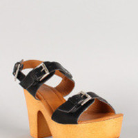 Buckle Open Toe Faux Wooden Platform Heel