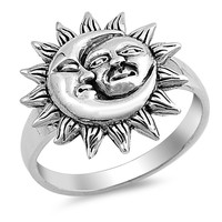 Sterling Silver Women's Ring Moon and Sun 18MM