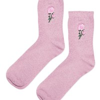 Embroidered Glitter Rose Ankle Socks - Socks & Tights - Bags & Accessories