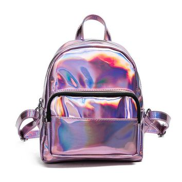 2017 New women hologram backpack laser daypacks girl school bag female silver PU leather holographic bags Fashion Brand Backpack