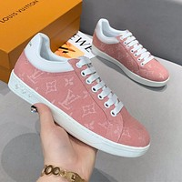 LV new tide brand women's canvas flat low-top sneakers shoes pink