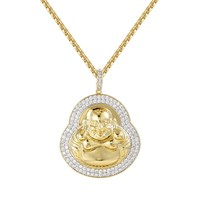 "Bling Designer Religious Buddha 14k Gold Finish Pendant Free 24"" Box Chain"