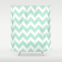 Chevron Mint Green & White Shower Curtain by Beautiful Homes