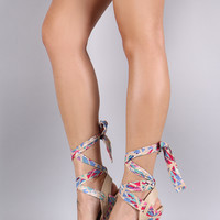 Bamboo Satin Bloom Print Ankle Wrap Platform Wedge